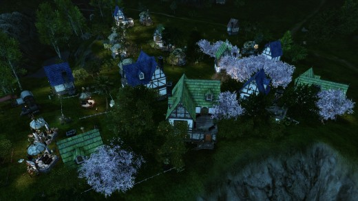 The Lux Arcana guild village, with the guild house at the center